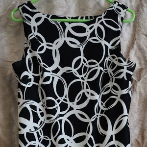 Black and white patterned sheath dress